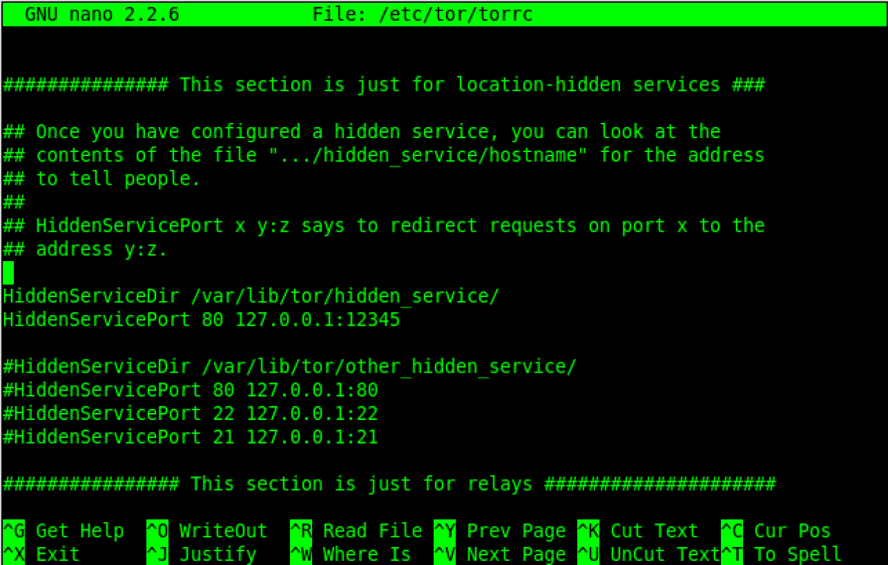 Configuring Tor hidden services